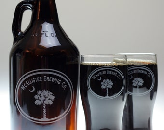 Custom Growler and glass set engraved with double oval & palm crescent moon art fathers day gift,custom pint,engraved pint,custom Beer G