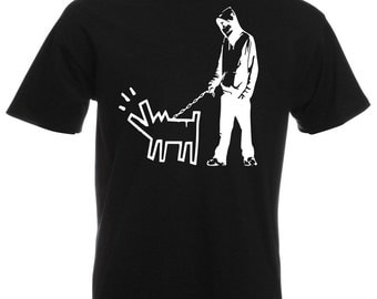 Mens T-Shirt with Banksy Street Art Graffiti Design / Boy with Dog Shirts / Choose Your Weapon Tee Shirt + Free Decal Gift