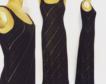 Vintage 70's Disco Dress Black w/ Gold