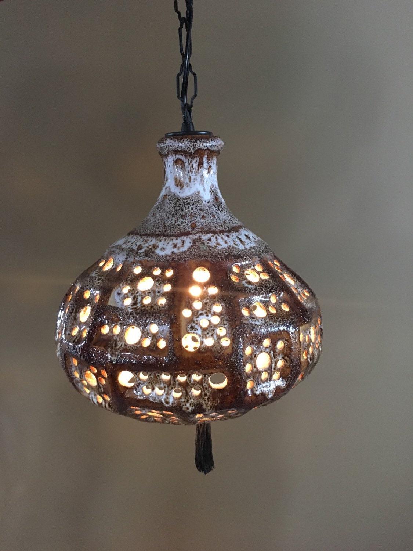 mid century pottery glazed hanging lamp. Black Bedroom Furniture Sets. Home Design Ideas