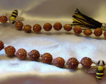 Bee-themed Paternoster/prayer/meditation beads  **FREE SHIPPING!