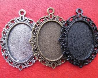 18mmx25mm Pendant Tray, Bezel Setting, 18mmx25mm  Cabochon Tray - Antique Bronze,Antique Silver,Black