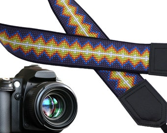 Inspired by Native Americans Camera strap.  Yellow. Blue. Violet.  Camera Strap for DSLR, SLR, mirrorless cameras. Personalized gifts.