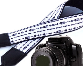 Arrows camera strap. DSLR / SLR  Camera Strap. Photo Camera accessories. Padded camera strap. Black and white camera strap by InTePro