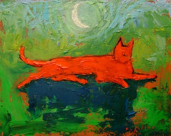 Big Orange Cat in the Moonlight. Colorful Cradled Board Oil Painting.