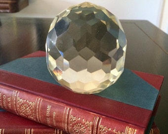 Stunning Vintage Cut Crystal Glass Paperweight