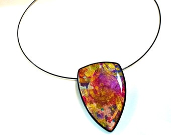"""Polymer Clay Pendant, Necklace, Handcrafted, OOAK, """"Elegance"""""""