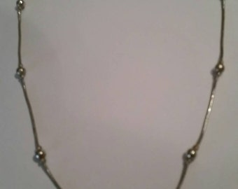 Vintage Silver Bead Necklace Costume Jewelry