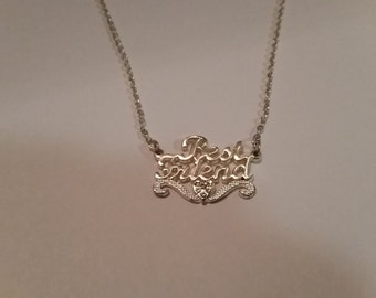 Vintage Silver Best Friends Necklace Costume Jewelry