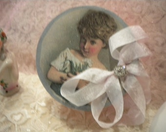 Shabby Chic Paper Mache Decorative Box  Victorian Girl