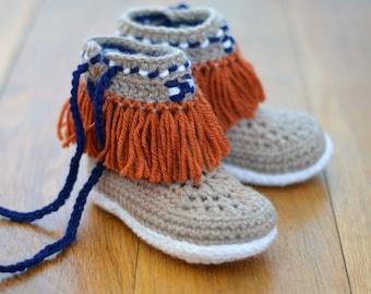 Crochet Pattern Slippers for Children Moccasin Fringe Boots Kids Sizes Instant Download  Slipper Pattern