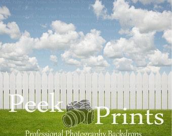 6ft.x6ft White Picket Fence Vinyl Photography Backdrop