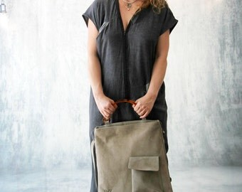 Gray Leather Bag, Women's Shoulder Bag, Messenger Bag, Laptop Bag, Handmade Leather Handbag, Back to School, Trending Bag, Double Bag