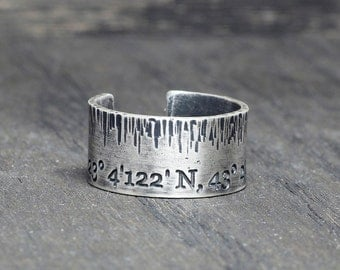 Personalized Latitude Longitude band ring, Coordinates Ring,  Latitude Longitude Ring,  Location Ring, adjustable ring, wide band ring