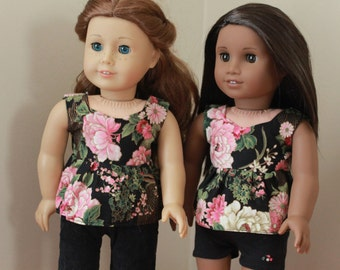 Floral Peplum Top for American Girl 18 inch Doll