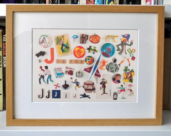 Limited Edition Alphabet Collage Print With Mount: J Is For...  Original, Vintage-Themed, Unframed
