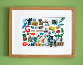 Limited Edition Alphabet Collage Print With Mount: G Is For...  Original, Vintage-Themed, Unframed