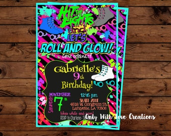 Roller Skating Glow Party Invitation