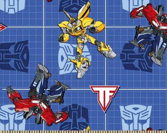 Transformer Patch Cotton Fabric on Blue