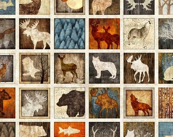Dan Morris, Woodland Spirit, Multi Lodge Patches 4 and 1/2 Inch Blocks Cotton Fabric