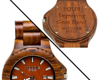 Handcrafted Mens Wood Watch Made From 100% Natural Red Sandalwood. FREE Custom Engraving!