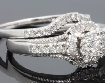 10K white gold .75 carat womens real diamond engagement ring bridal wedding ring band set