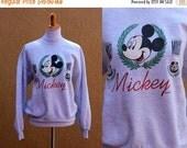SALE Vtg 80's Mickey Mouse Sweatshirt heather gray jumper pullover mickey university ivy league
