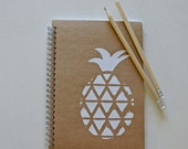 Journal with kraft cover and hand screen printed pineapple decoration