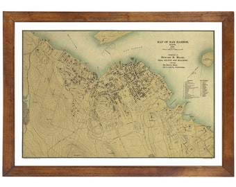Bar Harbor, ME 1896 Map; 24x36 Print from a Vintage Lithograph