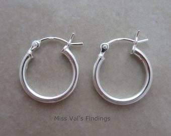2 pairs sterling silver 925 earring hoop 15mm