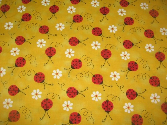 Red Yellow Ladybug Flower Fabric Quilting Fabric Fat