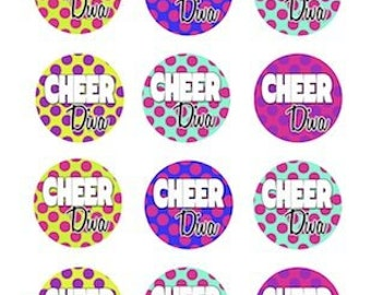 Cheer Edible Cupcake Topper Decorations - Set of 12 Toppers