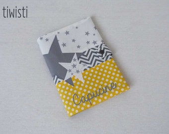 Protects yellow health card and grey with first name, reason for Star