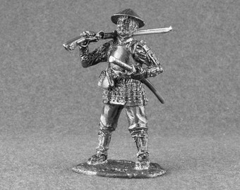 Soldier Figurine - Ashigaru with Mounted Arquebuse Shooter Unpainted 54mm Samurai Statue 1/32 Scale Tin Metal Collection