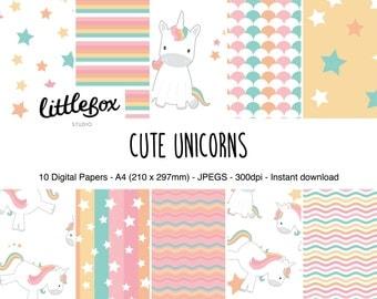 Cute Unicorns digital paper pack, instant download