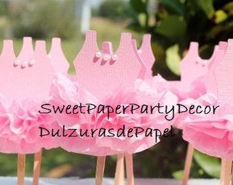 Ballerina Tutu Cupcake Toppers, Tutu Cupcake Toppers. Ballerina Party, Tutu Party, Tutu baby Shower Invitation, Tutu Birthday Invitation.