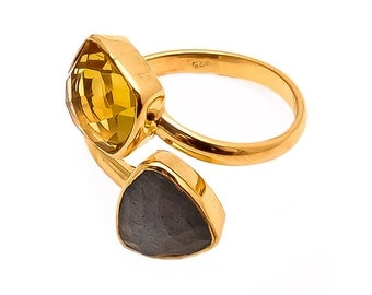 Ring 925 Sterling Silver Labrodorite and Golden Topaz Gemstone Ring Rose Gold Plated