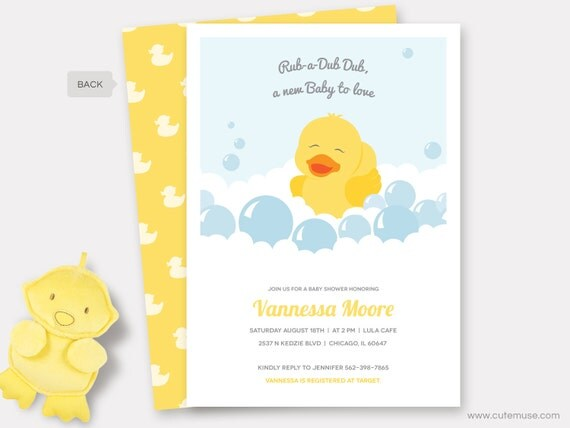 Rubber Duck Baby Shower Invitation Printable Rubber Ducky Shower