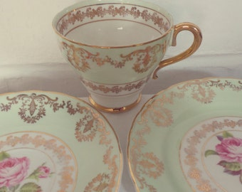 Very Pretty Vintage Leonard St Pottery Mint Green and Gold Floral English Bone China Tea Set Trio, afternoon tea, tea party, tea set