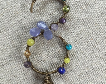 Blue, green and purple gemstone pendant and chain
