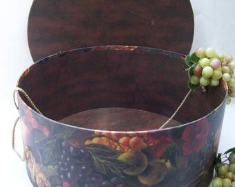 Large Raymond Waites Hat Box Dark Brown,Fruit,Once Upon a Rose Collection
