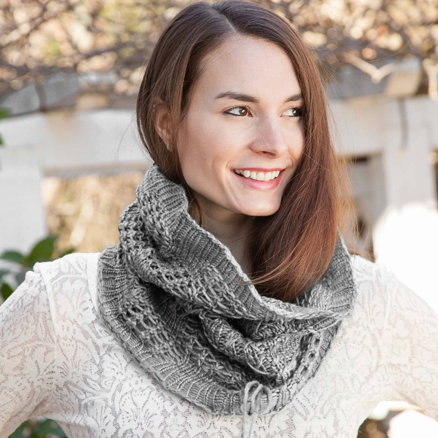 Knitting Pattern For Lace Snood : Loom Knit Snood Cowl PATTERN. Lace Snood Infinity Scarf Easy