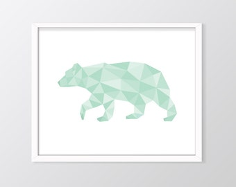 Mint Geometric Bear Print, Mint Bear Print, Mint Nursery Decor, Mint Wall Art, Mint Print, Geometric Bear Printable, Mint Green Art