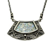 SALE HOLIDAYS 5776 Trapezoid shaped Roman Glass Necklace in Silver