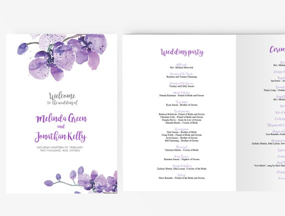 wedding program template editable word template instant. Black Bedroom Furniture Sets. Home Design Ideas
