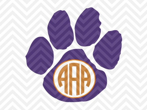 Paw Prints Monogram Svg: Clemson Tigers Paw Monogram Letters Not By