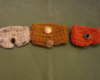 Crocheted Stretchable Button Bracelets-Lot Of Three