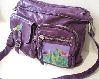 Purple vegan bag, upcycled handbag with birds, purple satchel bag, boho bag, vegan satchel, small handbag, small purple bag, crossbody bag