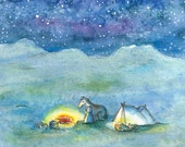 Stars in the sky | Postcard | Go camping with your animals and make a bonfire!