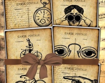 80% off sale Steampunk Party Digital Images for Cards, Postcards, Gift Hang Favor Tags 2.5 x 3.5 Digital Collage Sheets Digital Download